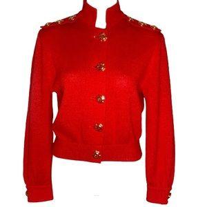 St. John Collection Red Santana Knit Button Jacket